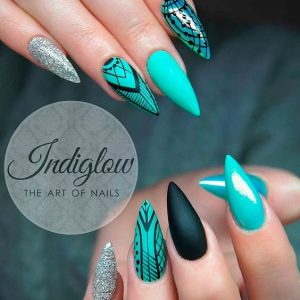 edgy black and teal