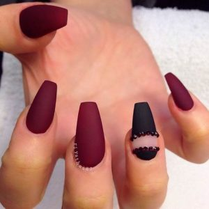 matte maroon and black