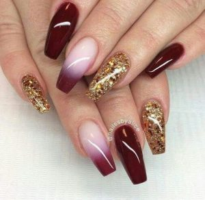maroon ombre end glitter