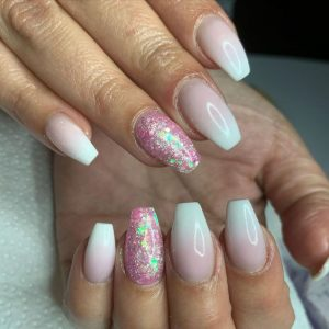 ombre french glitter short