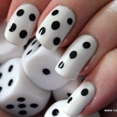 black white dice nails