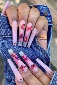 butterfly pink color long nails