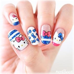 how to do hello kitty nails