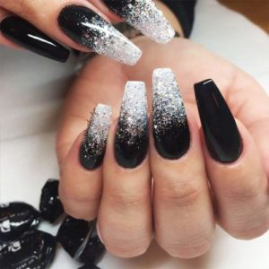 Glitter and Black Ombre Nails