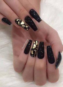 black and gold foils nails