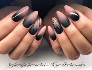 pink Black Ombre Nails