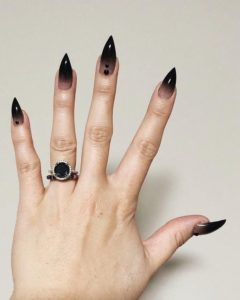 pointy black ombre nails