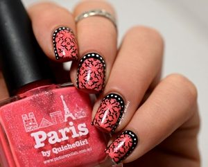 pink black short nails