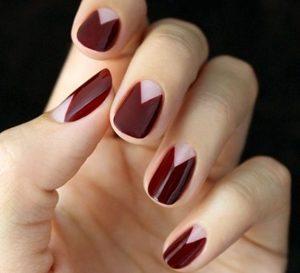 burgundy short nails