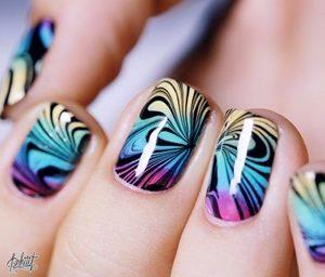 Rainbow Marble Nails