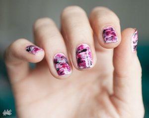 black pink marble nails