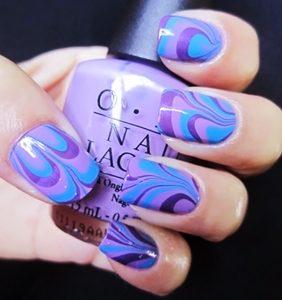 blue purple marble nails