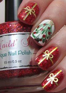 christmas marble nail art
