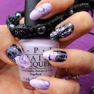 purple marble nails