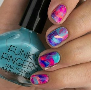 pink blue nails