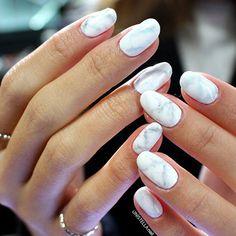 white cream marble nails