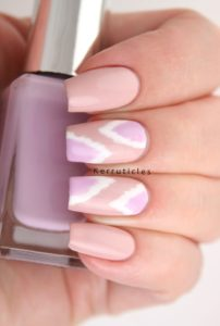 lilac, pink and white nails
