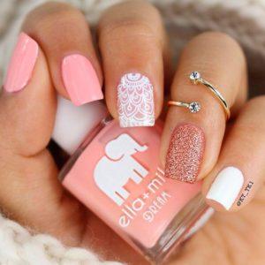 pink white henna nails