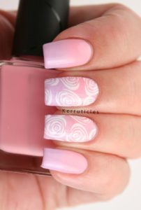 white and lilac nails