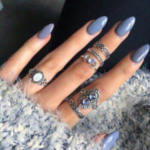 Almond Blue Nails