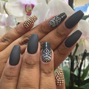 grey coffin nails