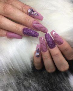purple coffin nails