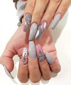 silver diamond nails