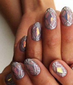 monochrome diamond nails