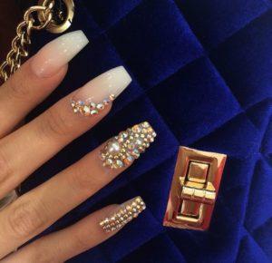 gold diamond nails