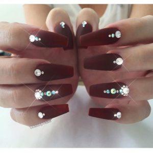burgundy diamond nails