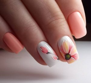 floral pastel nail art