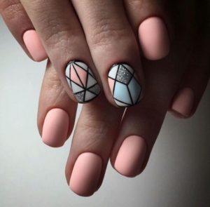 geometric pastel nail art