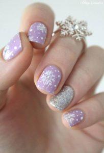 lavender snowflake nails
