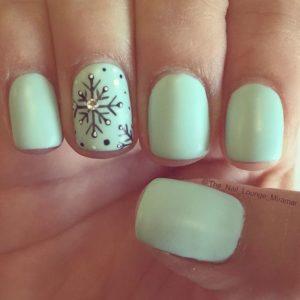 mint snowflake nails