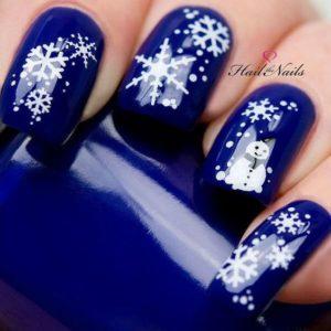 royal blue snowflake nails