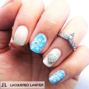 turquoise snowflake nails