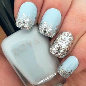mint glitter snowflake nails