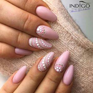 pink mosaic nails
