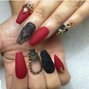 red and gold manicure