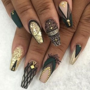 gold and teal nails