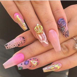 princess gold nails