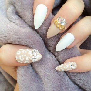leopard gold nails