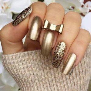 gold metallic manicure