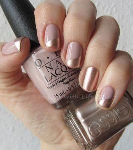 metallic rose nude nails