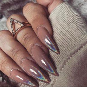 metallic nude manicure idea