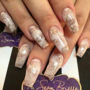 beige marble manicure