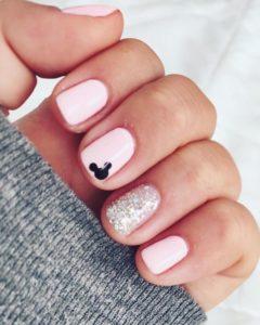 disney silver pink nails