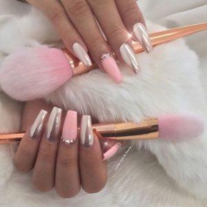 pink silver nails