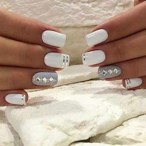 white silver nails