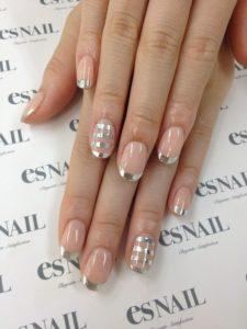 silver striped nails